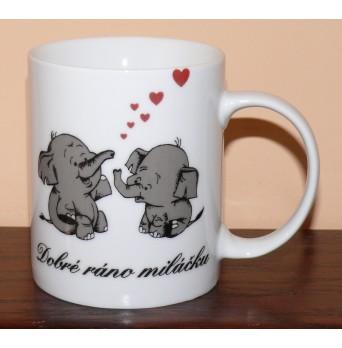 Porcelánový hrnek s nápisem Dobré ráno miláčku
